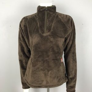 North Face Brown Fuzzy Pull Over M
